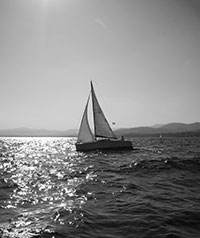 Sailing on the sea.